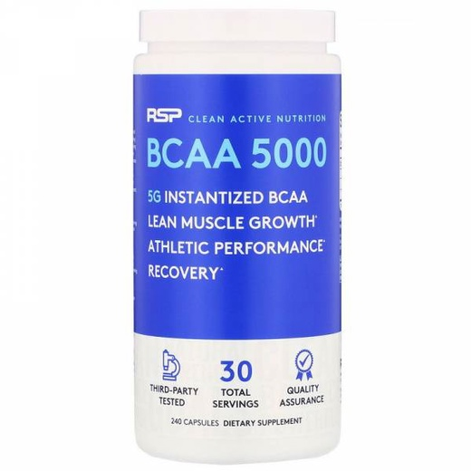 RSP Nutrition, BCAA 5000, 5,000 mg, 240 Capsules
