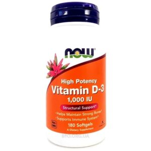 Now Vitamin D-3 1000 ME 180 гелевых капсул