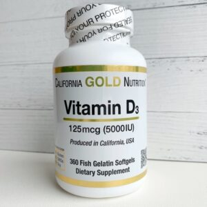 California Gold Nutrition Vit D-3 5000 IU 360 гелевых капсул
